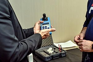 a Legionella testing device being used to prevent the risk of Legionella
