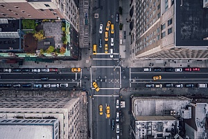 aerial view of commercial buildings in new york city that need to follow legionella compliance regulations