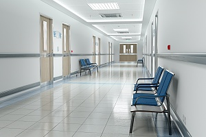 hallway in a healthcare facility in new york city that follows legionella regulations