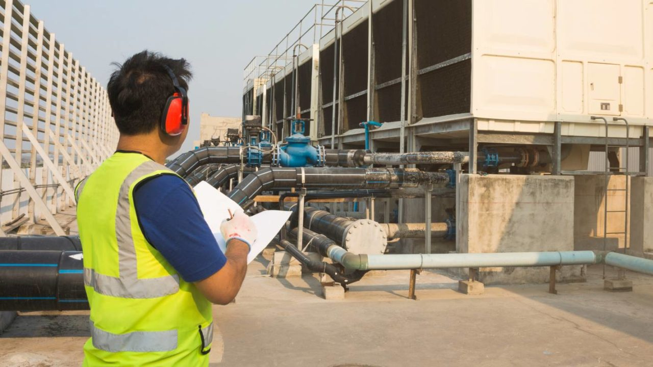 engineer inspects the infrastructure for the companys legionella prevention plan