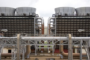 two sets of cooling towers in symmetry during legionella inspection