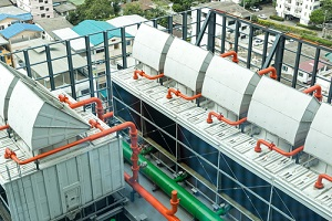 sets of cooling towers in data center building in compliance with local law 77
