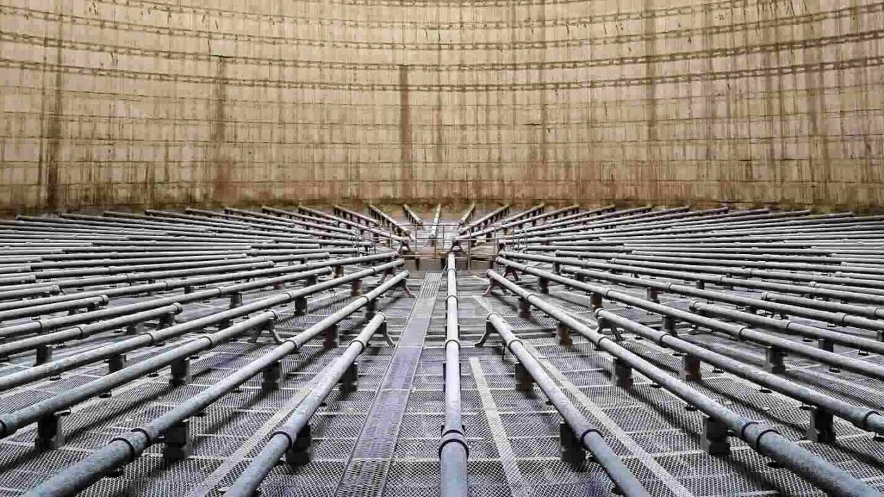 cooling pipes in a power plant cooling tower