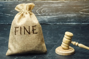 money bag with the word fine and the judge hammer