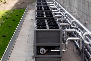 sets of cooling towers in data center building