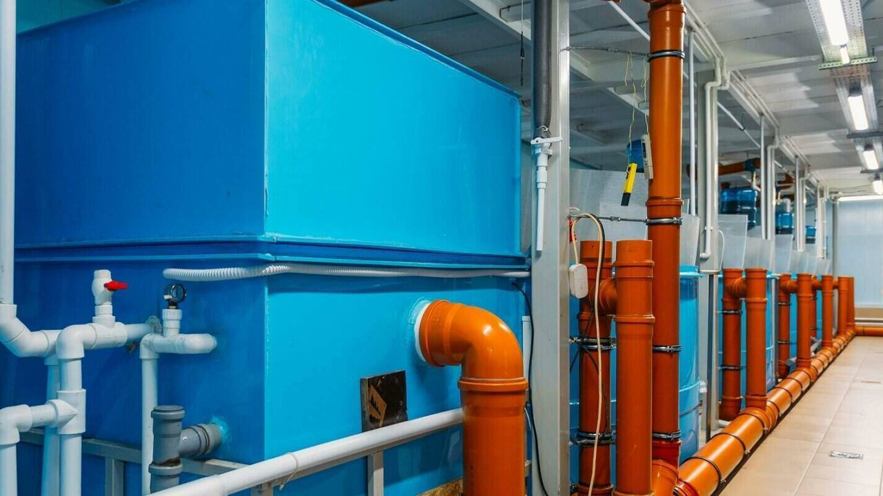 water purification system in modern fish farm with closed water supply